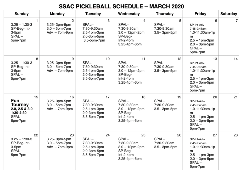 March Pickleball Schedule